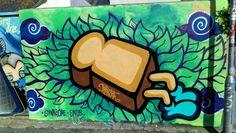 Bread with legs by itsartista #Brighton #streetart #urbanart #graffiti #paintedcity #Sussex #brightonstreetart #brightongraffiti