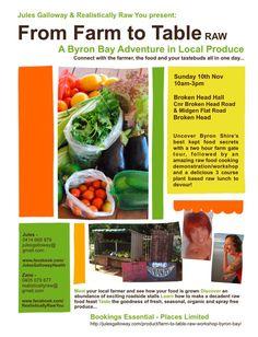Galloway Raw Food Workshop & Event in Byron Bay From Farm To Table, Byron Bay, Raw Food Recipes, Farmer, Workshop, Atelier