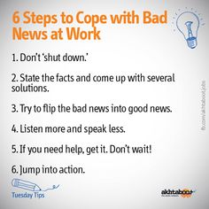 In business bad news is inevitable. How you deliver and how you react to bad news at work is crucial. Akhtaboot shows you how confident people gracefully handle bad news.
