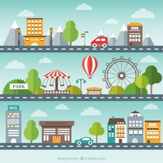 Flat cityscape pack Free Vector