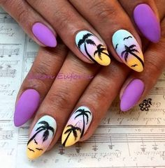 Top 70 beautiful palm tree nail designs is part of White Acrylic nails Life - Top 70 beautiful palm tree nail designs, Palm tree styles area unit one in every of the foremost wel Short Nail Designs, Nail Art Designs, Summer Acrylic Nails Designs, Tropical Nail Designs, Tropical Nail Art, Trendy Nails, Cute Nails, Pink Nails, My Nails