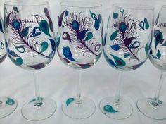 ooo want to make these    Peacock wine glasses, 3 Bridesmaid wine glasses for wedding party, teal purple and royal blue paisley design. $42.00, via Etsy.