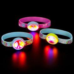 Light up Peace Sign Bracelet Asst. from BirthdayExpress.com