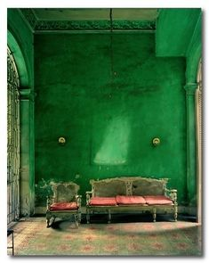 Emerald green plaster wall with pink radassier