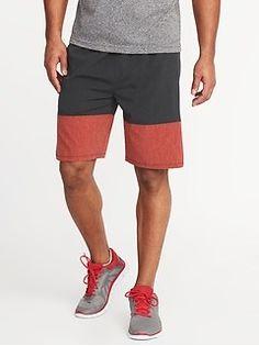 Old Navy Go-Dry Color-Block Stretch Shorts for Men - inseam Mens Activewear, Shop Old Navy, Stretch Shorts, Color Blocking, Stretches, Bermuda Shorts, Active Wear, Denim Shorts, Fashion