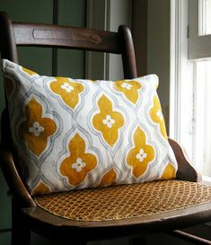 gray and yellow ochre ogee on white linen lumbar by giardino, $ 38.00 >> so pretty!