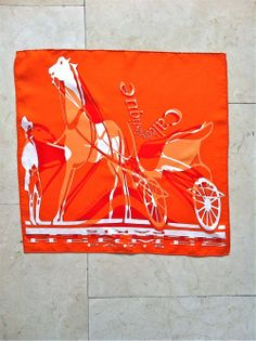 Hermes Orange Silk Caleche Scarf via The Queen Bee. Click on the image to see more!
