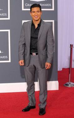 Mario Lopez in Grey suit with black shirt, black belt--no tie needed.