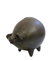 A classic terra cotta piggy bank with an upturned snout and curly tail. With a removable cork in the back so that you can pull out your savings. x Made in Bolivia. Money Bank, Cute Piggies, Little Pigs, General Store, Business For Kids, Terracotta, Piggy Banks, Pennies, Bolivia