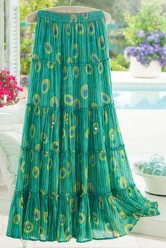Peacock Skirt - Feather Print Skirt, Pinstripe Skirt, Long Teal Skirt   Soft Surroundings