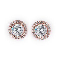 Sparkling Rose Gold Stud Earrings
