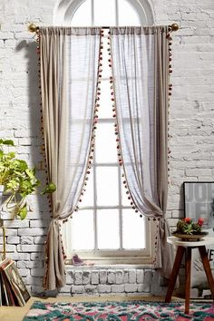 Magical Thinking Pompom Curtain - Urban Outfitters Curtains needed Cortina Boho, Rideaux Design, Curtains With Blinds, Pom Pom Curtains, Striped Curtains, Ideas For Curtains, Curtain Ideas For Living Room, Picture Window Curtains, Curtains For Arched Windows