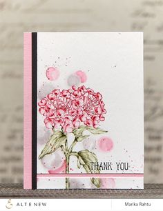 Love the fresh and chic look of this floral thank you card created by Marika. She stamped the image from the Beautiful Lady stamp set with Distress Markers and then blended the ink from the image with my water brush. www.altenew.com