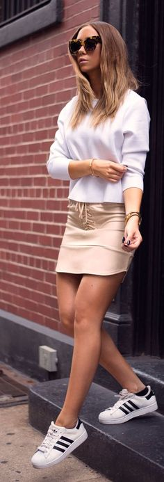 Nude Lace Up Leather Mini Skirt #Summer