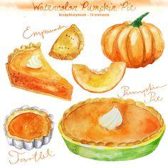 Watercolor Pumpkin Pie Set  digital printable by Scrapstorybook, Ft1000.00