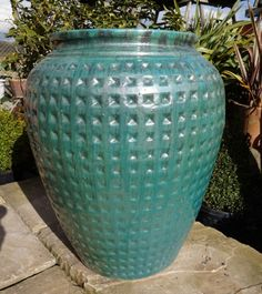 Green Dimpled Water Jar Large
