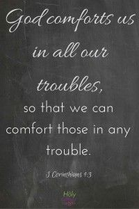 God comforts us in all our troubles, so that we can comfort others. FREE Chalkboard art Bible verse high quality PDF printable download or use as phone screensaver.