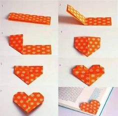Origami Heart Corner Bookmark Instructions Lovely Diy Heart Bookmark S and for – Origami Paper Folding Paper Crafts Origami, Diy Paper, Paper Art, Oragami, Diy Bookmarks, Corner Bookmarks, Bookmark Ideas, Bookmark Making, Bookmark Craft