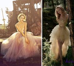 16 Non-Traditional Wedding Dresses for the Modern Bride   Brit + Co.... if the one on the right was slightly longer.. and all one length .. and white and silver not gold
