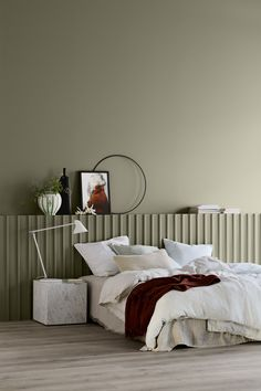 Simple bedroom design with beige walls, grey floor and white bedside lamp Gorgeous shades expected to influence the world of interior design. Grey Flooring, Colorful Interiors, White Bedside Lamps, Bedroom Interior, Luxurious Bedrooms, Simple Bedroom Design, Interior Design Styles, Simple Bedroom, Bedroom Wall Colors