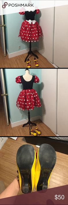 Minnie Mouse adult custome Selling a beautiful Minnie Mouse costume. It's for an adult. Comes with shoes. Shoes are size 7.5 and costume is size small. Outfit is almost brand new. They're brand 'Disney'. Disney Other