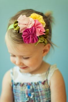 Elastic Headband with Jersey Flowers