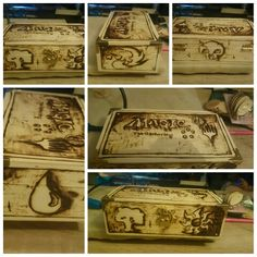 My first attempt at a wood burnt box, themed on Magic the Gathering. Mtg. Pyrography. Card games. Plainswalker.