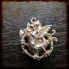 Antique French Silver Gargoyle Dragon Necklace