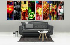 "Justice League Set of 8 12""x36"" Abstract Art Canvas: Batman, Wonder Woman, Green Lantern Superman, Aquaman Flash, Cyborg & Martian Manhunter"
