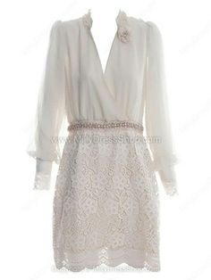 Apricot Long Sleeve Hollow Embroidery Dress