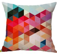 Creative Colorful Geometric Design Cotton With Linen Office Backrest Printed Cushion