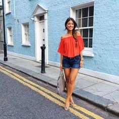 Mimi Ikonn | Off the shoulder top, AG shorts, wedges, Stella McCartney | OOTD