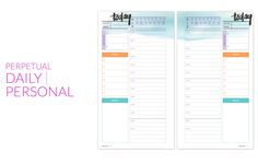 Free printable-Daily perpetual personal planner page