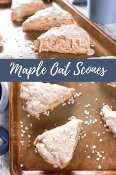 These Maple Oat Scones are lightly sweetened, hearty scones filled with the cozy flavors of maple and cinnamon with a hint of nuttiness from the oats! #scones #maple