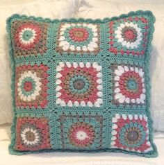 20 X 20 Granny Square Crochet Pillow by seechriscreate on Etsy
