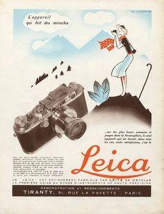 cartaz publicitário sobre a marca de câmaras Leica, nessa altura com o avanço dos media impressos e da publicidade eram constantes os cartaz sobre as novas máquinas fotográficas e a venda destes