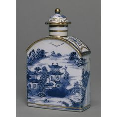 Tea caddy  1780s  From the Thomas Baxter porcelain painting studio in London. He bought plain white porcelain from various factories Sadly he died at age 39   I have found several gilders  in the 1700s died young. It is my theory that the cause was the mercury in the gilding enamel
