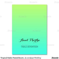 Tropical Ombre Tented Escort Cards Table Card