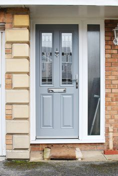 It's a new month, and not only are we enjoying the summer weather and the football, we are also enjoying seeing your stunning window and door installations &am Grey Composite Front Door, Grey Front Doors, Victorian Front Doors, Front Door Porch, Front Porch Design, Modern Front Door, House Front Door, Front Door Colors, Painted Upvc Door