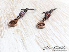 Purple Lotus Earrings, Copper Earring, Long Boho Earring, Long Dangle Earrings, Mixed Metal Earrings, Buddhist Jewelry, Lotus Flower Jewelry by MartyTribble on Etsy