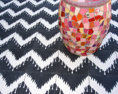 Ikat encaustic cement striped tile floor tiles in black and white from Villa Lagoon Tile Floor Patterns, Tile Patterns, Style Tiles, Chevron Tile, Encaustic Tile, Ikat Pattern, Concrete Tiles, Ikat Fabric, Tile Floor