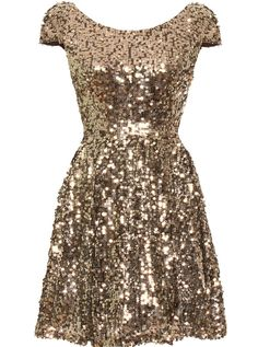 Babydoll Disco Dress: Features an elegant bateau neck framed by charming cap sleeves, slightly cinched waist for a figure-flattering effect, hundreds of glittering sequins covering the entire dress, and a twirl-worthy A-line skirt to finish.
