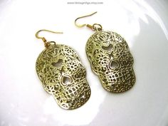 Sugar Skull Earrings Day of the Dead Día de Muertos Halloween Gold Tone Filigree 80s Fashion Jewelry Mexicana Mexico Texas Spanish Latino