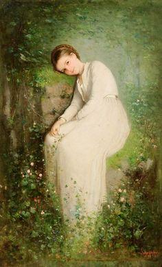 A Flower among Flowers - 1870 Nicolae Grigorescu