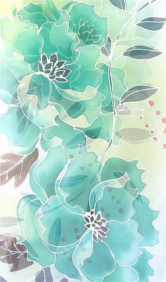Large Silk Scarf Handpainted, Mothers Day Gift, Green Silk Scarf, ETSY ASAP, Jade Green Peonies Scarf, Silk Scarves Takuyo, 14x72 inches.