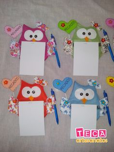 Coruja porta recados para geladeira | Teca Artesanatos | Elo7 Mais Kids Crafts, Owl Crafts, Crafts To Make, Arts And Crafts, Paper Crafts, Sewing Projects, Projects To Try, Art N Craft, School Decorations