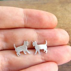 Cat post earrings small animal sterling silver studs. by lunahoo