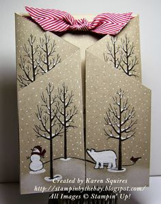 """Stampin"""" Up! ... handmade winter card fro Stampin' By The Bay: White Christmas Stand Up Card ... luv the look of black and white stamping on kraft ... looks like a double cascade gate card ... snow scene ... white snow on bare branches ... gorgeous!"""