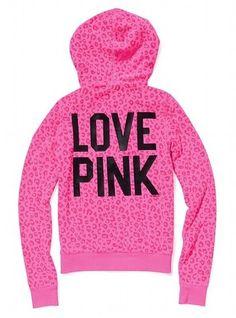 VS Pink Neon Cheetah Leopard Animal Print Zip Up Logo Hoodie