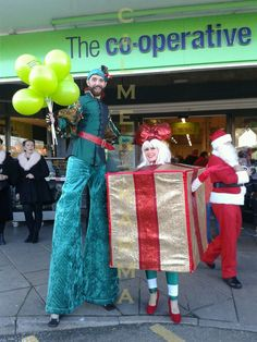Family Christmas Party Entertainment  - STILTS  http://www.calmerkarma.org.uk/CHRISTMAS-ENTERTAINMENT-FAMILY-EVENTS.html Perfect for shopping centres and open air Christmas celebrations. Hire across the UK inc MANCHESTER, LONDON, Cheshire, BIRMINGHAM, CARDIFF, Bristol